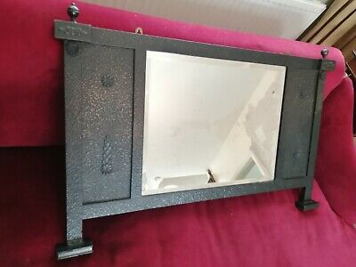 Antique Art And Crafts Wooden Overmantle Mirror