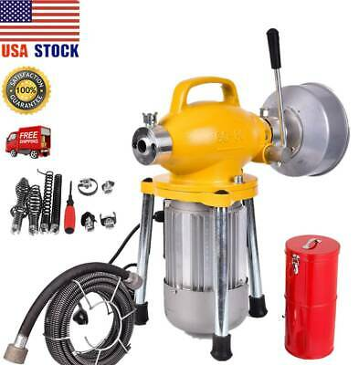 "Pro 100FT 3/4""-5""Compact Electric Auger Drain Cleaner Machine Sewer Snake Cutter"