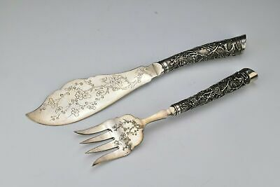 Chinese Export Silver Fish Set with Cherry Blossoms Signed Tuck Chang