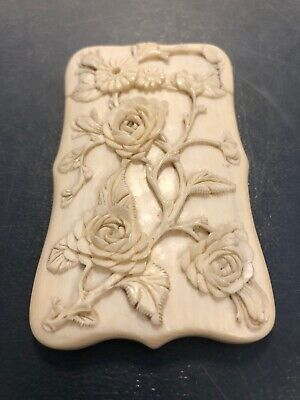 Antique Chinese Hand Carved Card Holder Box 1800's Beauty Exceptional Quality
