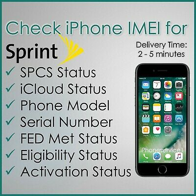 SPRINT USA IMEI iPHONE PRO CHECK SERVICE, SPCS, FED Met, ACTIVATION STATUS