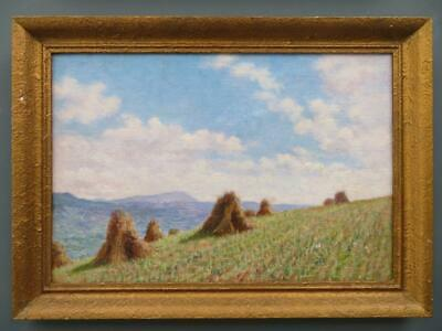 PAIR OF FINE EARLY 20thC impressionist Oil Paintings DORSET HAYSTACKS Bridport