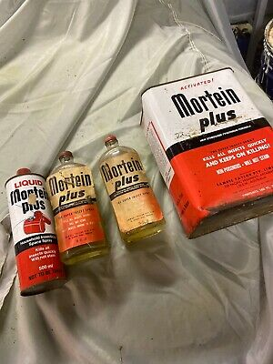 Vintage Liquid MORTEIN Plus 1 Gallon Fly Spray Can Tin And Bottles