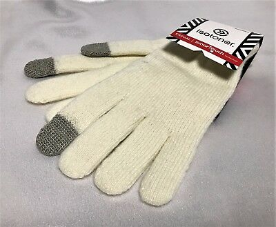 Isotoner Smart Touch Womens Gloves Ivory Gray Tip Knit Smartouch Texting