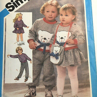 Vintage Stretch Pull On Sweat Pants Skirt Top & Bag Pattern Toddler 1 2 3 Uncut