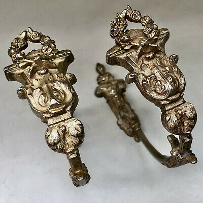 Vintage French Pair Of Ornate Gold Colour Metal Curtain Tie Back Holders