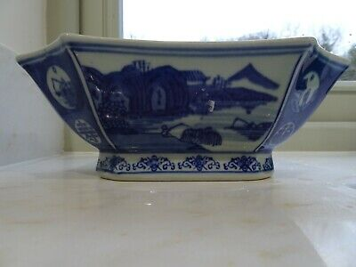 Vintage Chinese Blue and White Octagonal Bowl water and fisherman scene