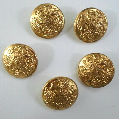 Set 5 Coat of Arms Gold Metal Replacement Shank Buttons Blazer Jacket