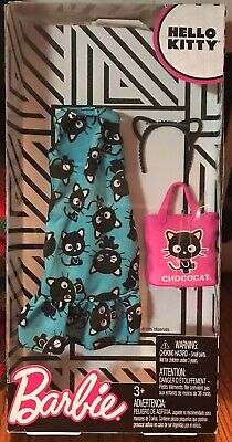 Barbie Hello Kitty Fashionista Pack NIP Aqua Green Badtz Maru Dress Badtz Purse+