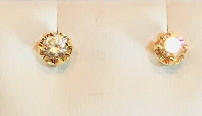 14k Yellow Gold .24ctw Round Diamond 4 Prong Stud Earrings