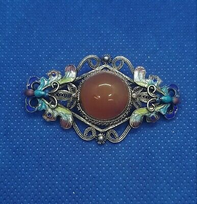 Antique CHINESE EXPORT SILVER CARNELIAN  FILIGREE Brooch CLOISONNE ENAMELED