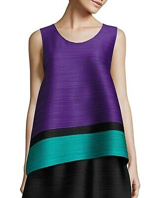 Auth NWT PLEATS PLEASE Issey MIYAKE Bounce STRIPE Purple BLOUSE Tank TOP