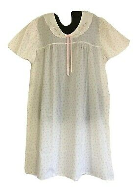 Carole Lightweight Short White Nightgown Pink Tulip S/S Poly Blend Womens L Vtg.