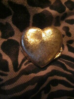 Vintage MC GIVENCHY Signed Heart Solid Perfume Compact Trinket Holder Gold Empty