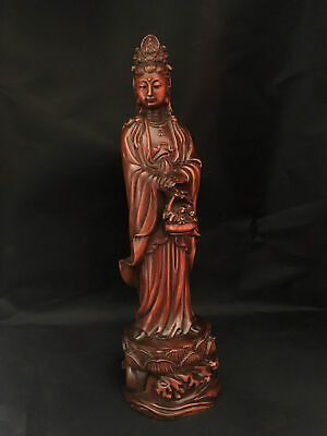 Collectable China Old Boxwood Hand-Carved Buddhism Kwan-Yin Bodhisattva Statue