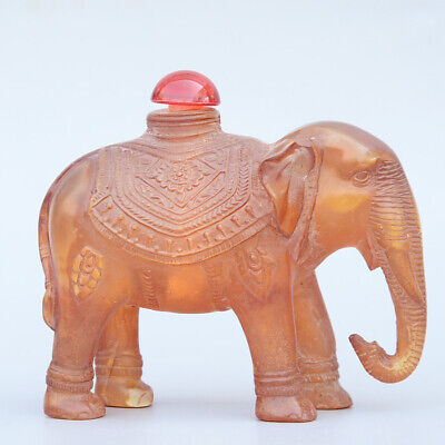 Collectable China Old Amber Hand-Carved Lovely Elephant Delicate Snuff Bottle