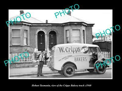OLD LARGE HISTORIC PHOTO OF HOBART TASMANIA THE CRIPPS BAKERY TRUCK c1940