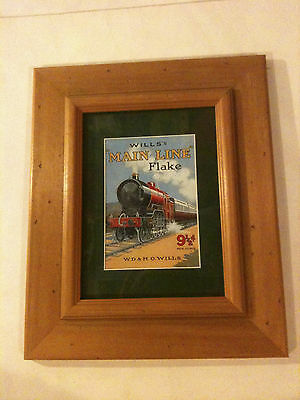 """FRAMED PICTURE OF RED STEAM TRAIN Wills 'Main Line' Flake 12"""" x 10"""""""
