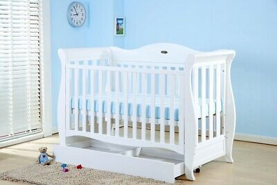 Baby Direct Sleigh Cot White Converts To Toddler Bed