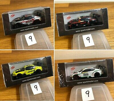 Set of Four High Detail 1/64 Bentley Continental GT3 Diecast Minicars by Spark