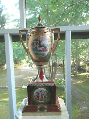 "Antique 1800'S 20"" Austrian Royal Vienna Porcelain Urn Signed - Haufmann"
