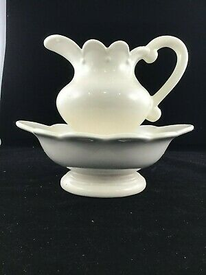 Wash basin and pitcher/ Vintage Pottery White Water Wash Pitcher and Basin
