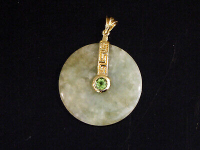 14K Gold & Green Jade Circle Pendant With Stone