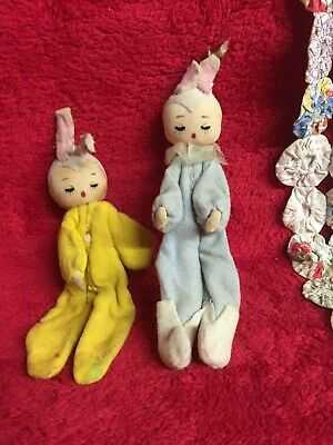 Vintage Primitive Style Dolls with Rabbit Ear Very Old Maybe Antique Dolls