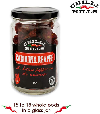 Chilli Hills Carolina Reaper Dried Hot Chili Peppers. Worlds Hottest Chillies in