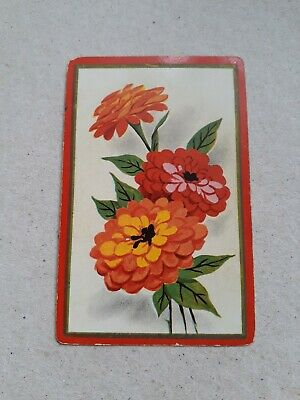 playing cards swap. One card,  Bright orange/red flowers.