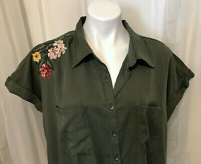 Style & Co Women's Blouse Plus 2X Olive Green Button Collar Embroidered Cap Slv