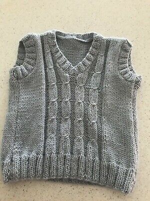 Boys handmade knitted wool vest size 3