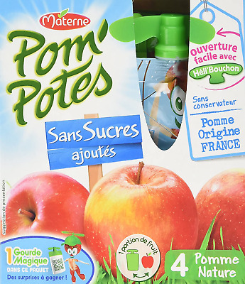 Pom'Potes Materne, Fruit Snack on The Go for Kids, Apple Puree No Added Sugar, 4
