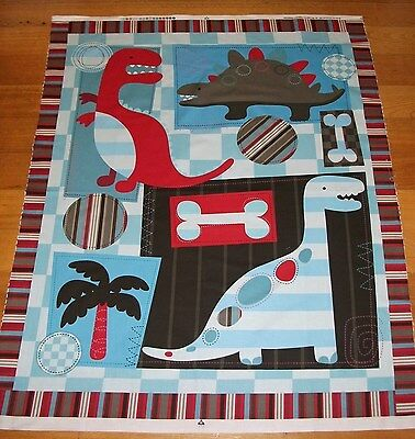 Baby Cot Quilt Panel Dinosaurs By David Textiles