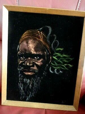 WONDERFUL VINTAGE PAINTING ON BLACK VELVET OF AN ABORIGINAL MAN by B.LIGHTFOOT.