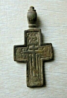 "ANTIQUE 18-19th CENTURY ORTHODOX ""OLD BELIEVERS"" ORNATE BRONZE CROSS PSALM"