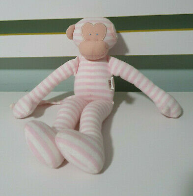 Alimrose Monkey Cloth Doll Pink With Stripes Rattles  27Cm Baby Toy