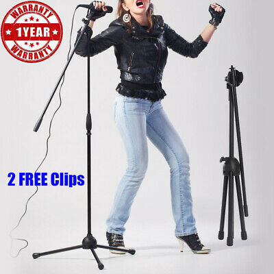Professional Boom Microphone Mic Stand Holder Adjustable With 2 Free Clips UU