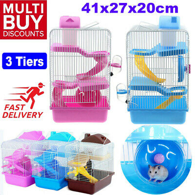 Large Hamster Cage Gerbil Mouse Mice Small Pet Cages 3 Tiers Storey Level PINK