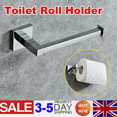 Wall Mounted Toilet Roll Holder Chrome Round Paper Tissue Stand Bathroom Storage