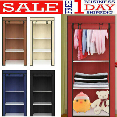 Canvas Fabric Wardrobe Single Clothes Hanging Rail Storage Drawers Bedroom Cloth