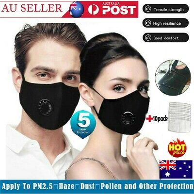 Washable P2 Face Mask Anti Air Pollution Respirator & 10 Filters Adjustable Mask
