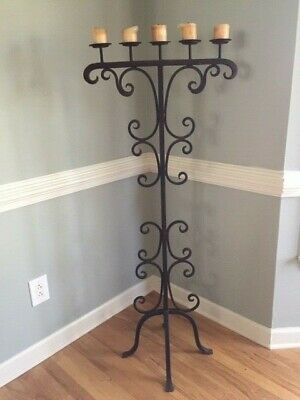 Classic Old, Solid Hand Wrought Iron, Floor Candelabra, Black Scroll Pattern