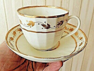 Antique Early CROWN DERBY Tea Cup & Saucer Duo 1782 1800