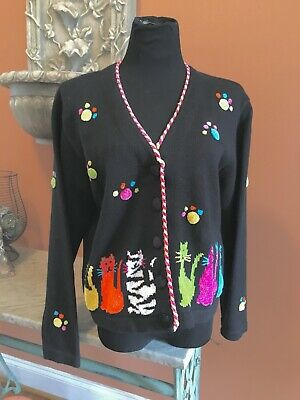 BEREK Cardigan Sweater L CATS & Paw Prints Black Button Front Colorful Kitty