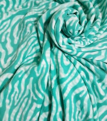 2.25m Remnant Mint Green Zebra Stripes American Polar Fleece 150cm wide