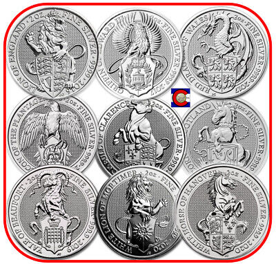 2016-2020 Queen's Beast 2 oz Silver Coins - 9 coin set - Lion to White Horse