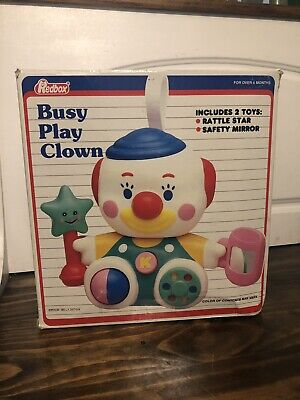 Busy Play Clown rattle mirror baby crib toy by Redbox New