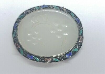 ANTIQUE Chinese Export Carved Jade Silver Filigree w/ Enamel Brooch