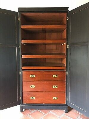 Antique Painted Black Linen Press Chest Of Drawers Hall Laundry Cupboard Cabinet